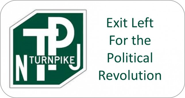 NJ Turnpike Sign Exit Left for Political Revolution