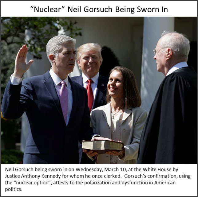 """Nuclear"" Neil Gorsuch being sworn in as a Supreme Court Justice"