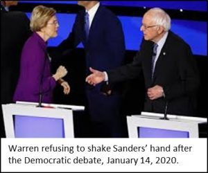 Warren and Sanders refusing to shake hands